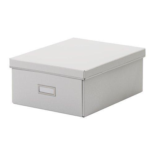 smårassel Box mit Deckel, weiß, Tiefe: 35cm/35cm Breite: 27cm, geeignet für Papiere, Fotos und andere Andenken. Das Label Halterung hilft Sie zu organisieren und finden ihre - Andenken-foto-box