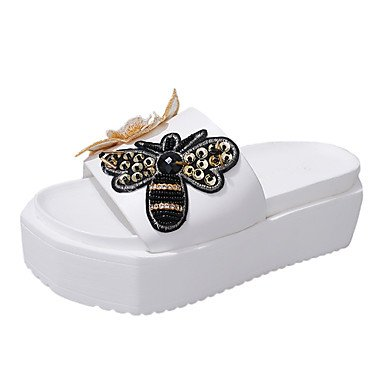 Scarpe Donna Donne Sandali estate PU comfort all'aperto Walking Heel Flat Black Bianco US5.5 / EU36 / UK3.5 / CN35