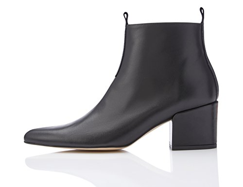 FIND Damen Ankle Boots mit Blockabsatz Schwarz (Black)