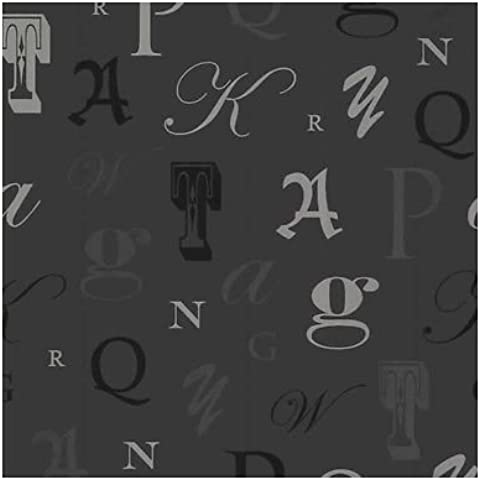FD67334 - Zinc Wallpaper Manoscritto Lettere Nero
