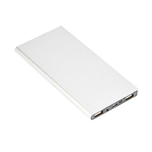 Mobile Power Bank Super -Slim 20000mAh LED USB Chargeur de Batterie Externe avec 2 port (Argente)