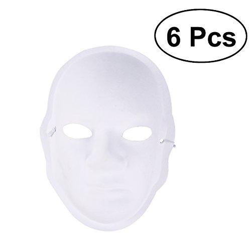 Vollmaske DIY Malerei Maske 6 stücke Weihnachten Kostüm Zellstoff Blank Weiß Maske für DIY Farbe 6 stücke (Diy Halloween Kostüme Für Kinder)