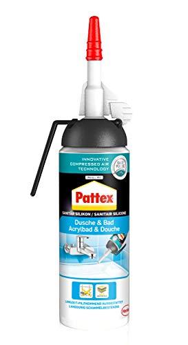 Pattex PKSDW Dusche&Bad Silikon Spender, einfache Anwendung ohne Kartusche, Weiß