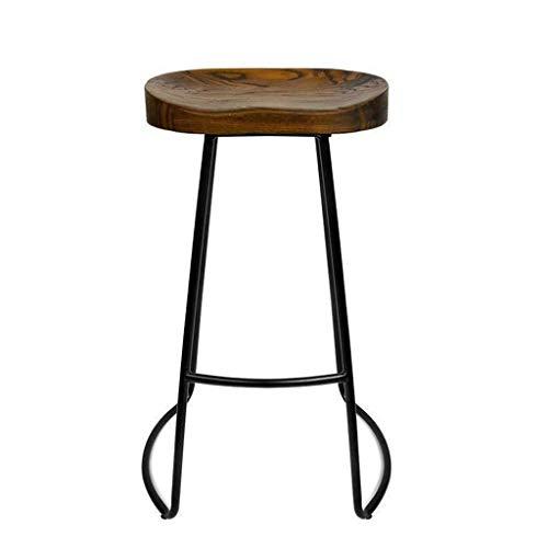 Dark Brown Counter (Liuwubing Massivholz Nordic Modernen Minimalistischen Bar Counter Chair Home Bar Kreative Kaffee Lässig Esszimmer Hocker Eisen Kunst Hochstuhl (Color : Dark Brown, Size : 65×42×32CM))