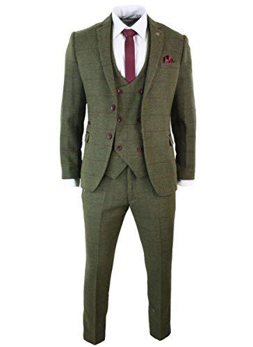 ShineGown Herren 3 Stück Anzug Slim Fit Zwei Button Abend Hochzeit Smoking Retro Fischgrät Tan Tweed Check an Olivgrün