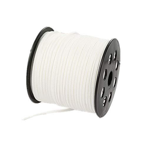 Cordón de encaje de ante sintético de 100 yardas con cordón de terciopelo suave para pulseras, collares, cabezas, joyas, atrapasueños, suministros de envoltura de regalo, blanco, 100yardsx2.7mm