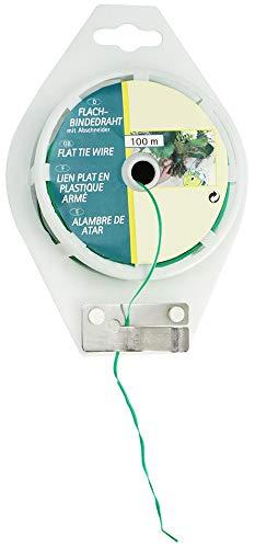 com-four® Fil de Liaison Plat de 100 mètres avec Fil recouvert de Plastique Vert, avec Dispositif de Coupe, idéal pour Le Jardinage et Les travaux ménagers (01x 100m Vert V1)