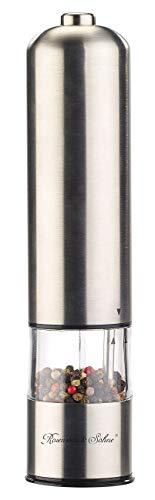 Rosenstein & Söhne Salzmühle: Elektrische Salz- / Pfeffermühle mit Keramik-Mahlwerk, Licht, 22,5 cm (Elektrische Kombi Gewürzmühlen)