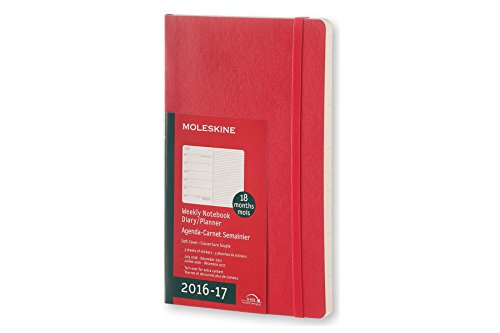 2017 Moleskine Scarlet Red Large Weekly Notebook 18 Month Diary Soft por Moleskine