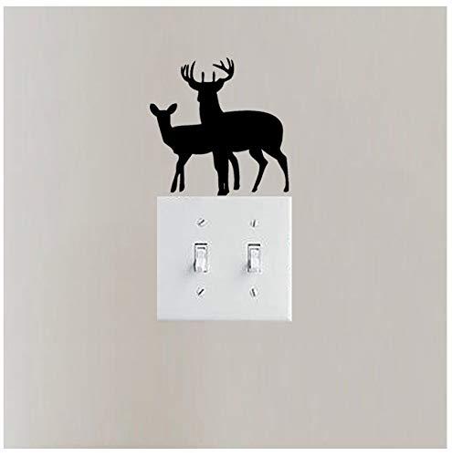 Zwei Deer Doe And Buck Vinyl Tier Schlafzimmer Lichtschalter Wandaufkleber Dekor 2st -