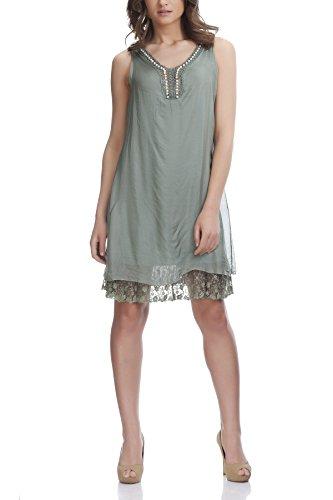 Laura Moretti - Seidenkleid mit Perlen auf der Oberseite (Kleid Shirt Seide)