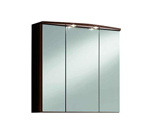 Held Möbel 174.3082 Marinello Spiegelschrank 3-türig, 6 Einlegeböden, 2 Aufbauleuchten, 70 x 69 x...