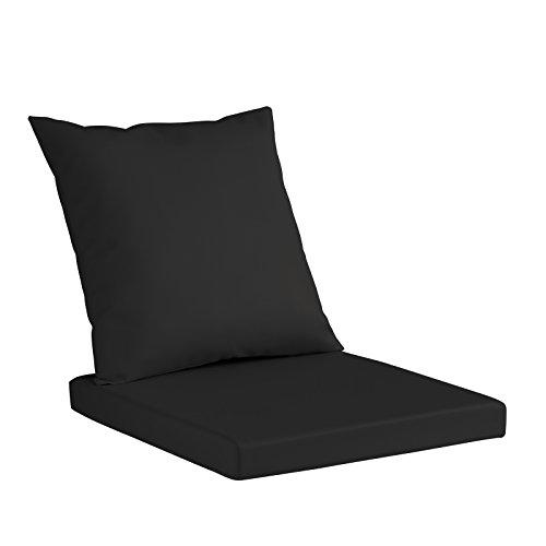 Set Merida Coussin pour banc, sofa ou chaises, en simili cuir hydrofuge, coussin d'assise en polyuréthane 8 cm de hauteur, coussin de dossier en ouate aux mêmes dimensions que le coussin d'assise 60X60 Noir