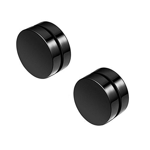 AIUIN 1 Paar Ohrring magnetisch Clips Zange Nicht Piercing Ohne Loch Rund Herren Damen (Schwarz, 10)