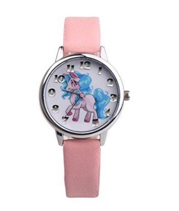 Josep. H niños Cartoon reloj, niño, niña puntero unicornio reloj rosa