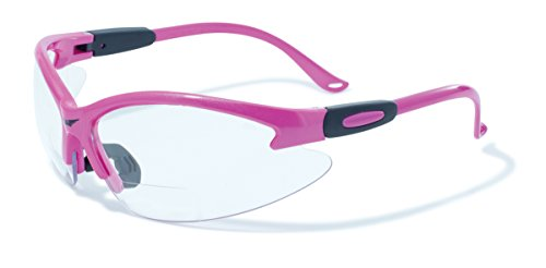 Global Vision Eyewear Cougar Bifocal Series Sunglasses with Dark Pink Nylon Frame and +2.5 Clear Safety Lenses