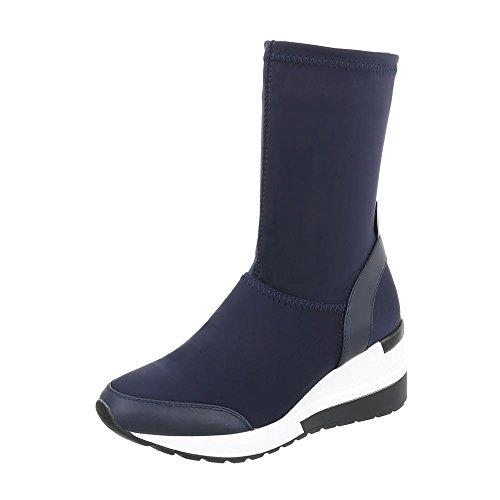 Bleu Design Compensees Bottes Foncé Chaussures Ital Et Bottines g0rwnrdAq