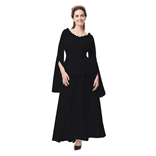 WUDUBE Mittelalter Renaissance Kleid Damen Elegante Retro Kleid Knielanges Kleid Normallack Trägerlos Kleid, Geeignet Für Cosplay Vintage Party Club