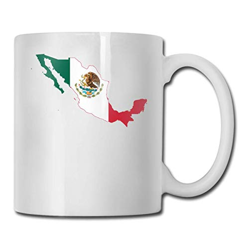 Daawqee Tazze Da Viaggio Coffee Mug Mexico Flag Map Mug Funny Ceramic Cup for Coffee and Tea with Handle, White