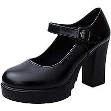 Zapatos de Tacón Alto Ancho Plataforma para Mujer Invierno Primavera 2019 PAOLIAN Zapatos Tacón Grueso Cuña