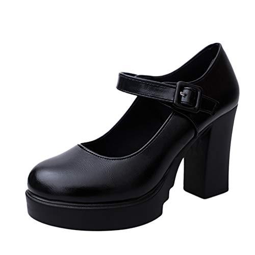 Zapatos de Tacón Alto Ancho Plataforma para Mujer Invierno Primavera 2019 PAOLIAN Zapatos Tacón Grueso...