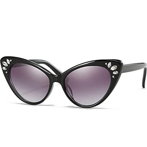 DAIYSNAFDN Cat Eye Sonnenbrille Frauen Strass Sonnenbrille Weibliche Sexy Kristall Vintage Cateyes Sunglass Purple