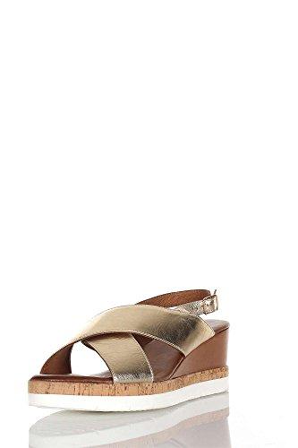 INUOVO 7902 gold oro sandali donna zeppa fibbia Oro