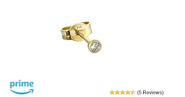 PAAR Ohrstecker Gold 333er 3 mm Cubic Zirkonia DAMEN HERREN KINDER 0,33g 3753