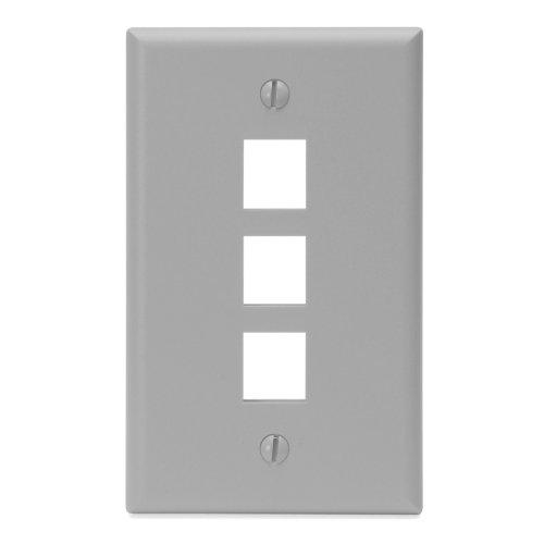 Leviton QuickPort Wallplate, 1-Gang, 3-Port, Gray Gang Wall Plate 3 Port
