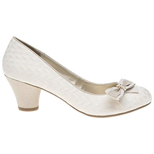 LADIES RUBY SHOO LILY CREAM LOW HEELED VINTAGE STYLE RETRO WEDDING SHOES-UK 5 (EU 38) - 2