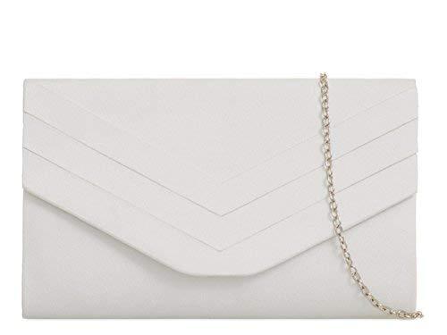 fi9 Sac à main en daim pour femme avec enveloppe style mariée mariage soirée - Blanc - Weiß,