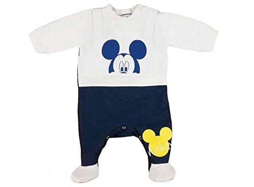 Jungen BABY-STRAMPLER mit Füßchen GEFÜTTERT von Mickey Mouse in GRÖSSE 56, 62, 68, 74, 80 blau im Latz-Hose Design, Baby-Schlafanzug LANG-ARM mit Druck-Knöpfen, Spiel-Anzug Size 80 Fleece-schlafanzug Baby