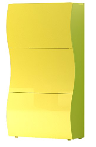 Onda-828180-Meuble--Chaussures-avec-3-Portes-Jaune-Laqu-27-x-71-x-122-cm