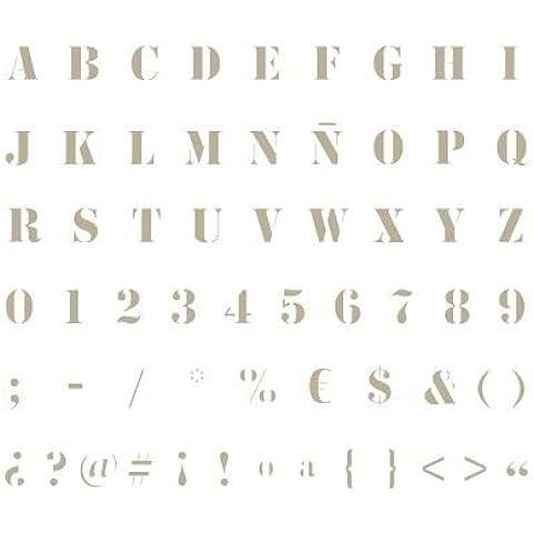 Stencil Abecedario Mini 007. Medidas aproximadas:Tamaño del stencil 12 x 12(cm) Altura M mayúscula 0.7 x