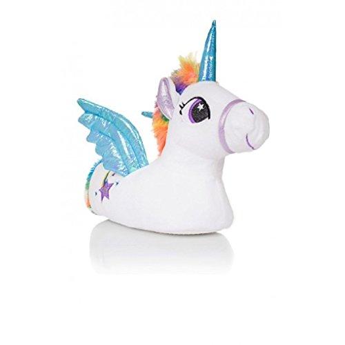 (Mädchen Kinder Hausschuhe Größe 10 11 12 13 1 2 Einhorn Spaß Neuheit Weihnachten Geschenk Idee 3D - weiß Trixie, EU 29/30.5)