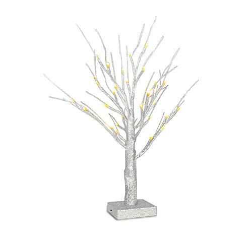 Funkeln Zweig Baum,OBELON 32LT Warm Weiß LED Batterie Betrieben Sparkly Ast Baum Licht Tischplatte Baum Licht 6 Std Timer 1.8FT Hoch für Weihnachten Ostern Halloween Vielen Dank Geben Tag Hochzeit Party Urlaub Saisonal Dekoration – Silber Baum [Energie Klasse A +++]