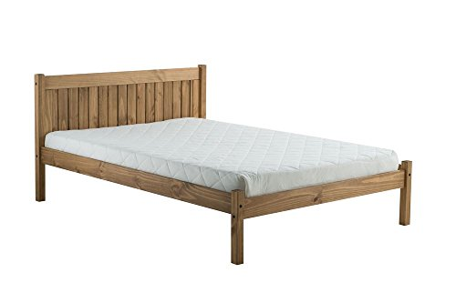 Happy Beds Rio Wooden Bed Waxed Pine Finish Traditional Frame Bedroom 4' Small Double 120 x 190 cm