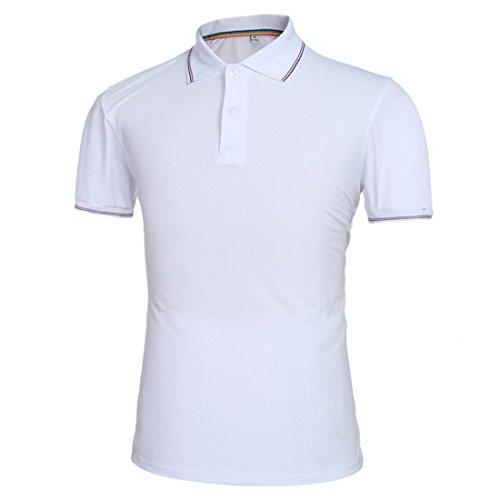 LIANIHK Herren Hemd kurzarm Poloshirt Hemd Basics T-Shirt Polo Shirt Multicolor Simple t Weiß