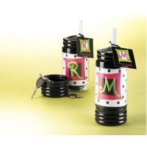 Mud Pie Women's Initial Canteen Caddy Water Bottle - W by Gifted Initial Collection -