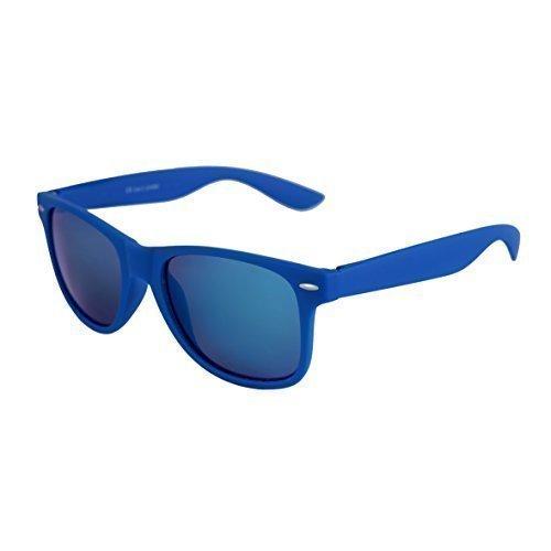 Hochwertige Nerd Sonnenbrille Rubber im Wayfarer Stil Retro Vintage Unisex Brille mit Federscharnier - 96 verschiedene Farben/Modelle wählbar (Blau - Blau verspiegelt)