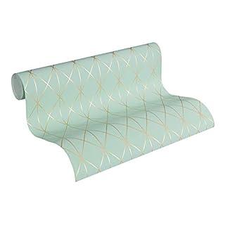 Designdschungel by Laura N. Vliestapete im skandinavischen Design matt glänzend 10,05 m x 0,53 m metallic blau grün Made in Germany 365752 36575-2