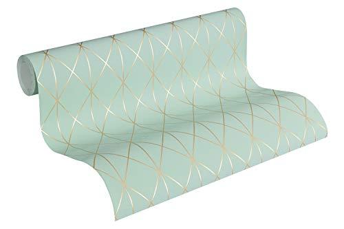 Designdschungel by Laura N. Vliestapete im skandinavischen Design matt glänzend 10,05 m x 0,53 m metallic blau grün Made in Germany 365752 36575-2 - Lässige Eleganz-kollektion