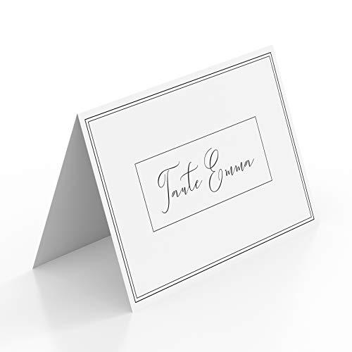 (50 x) Tischkarten Hochzeit Platzkarten Namenskarten Geburtstag Edel Schwarz Weiß