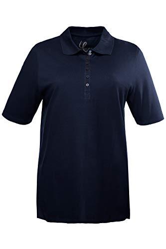 Ulla Popken Damen große Größen bis 72, Oberteil, Poloshirt, T-Shirt mit Samtband-Knopfleiste, Basic-Shirt, Polokragen, Baumwolle Marine 54/56 638837 71-54+
