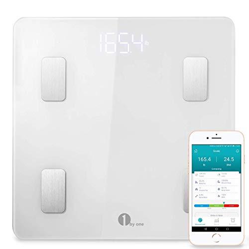 Badezimmer Waage (Körperfettwaage 1byone Wireless Körperanalysewaagen mit iOS und Android APP, Smart digitale Personenwaage für Körperfett, BMI, Gewicht, Muskelmasse, Körperwasser, Skelettmuskel, Knochengewicht)