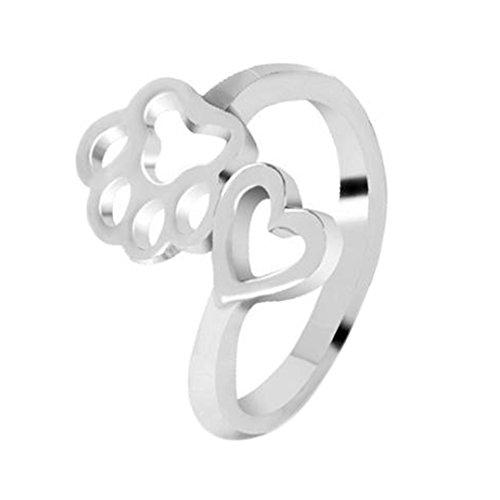 DaoRier anello in argento Sterling a forma di zampa di cane con strass di cristallo, adatto per bambina e donna Silver