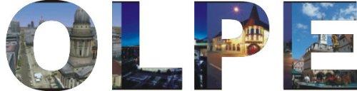 INDIGOS UG - WANDTATTOO / Wandsticker / Wandaufkleber / Aufkleber farbige Wandschrift Städtename Olpe mit Sehenswürdigkeiten 96 x 25 cm Länge