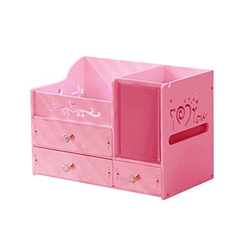sal008ly7far Kunststoff Kosmetische Schublade Container Make-Up Veranstalter Box Für Lagerung Bilden Schmuck Nail Home Desktop Diverse Aufbewahrungskoffer Rosa