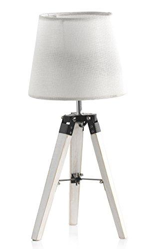 GEESE 9062 - Lámpara de sobremesa de madera, 21 x 21 x 46 cm, color gris