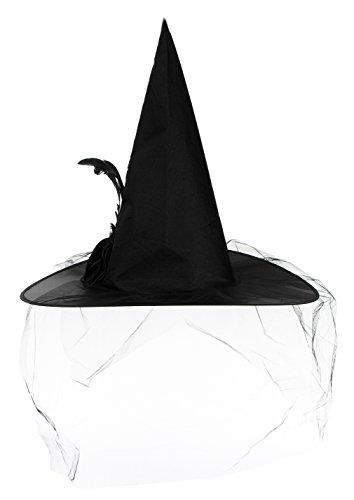 EOZY Damen Hexenhut mit Rose Karneval Erwachsene Spitze Hut Halloween Hexe Schwarz